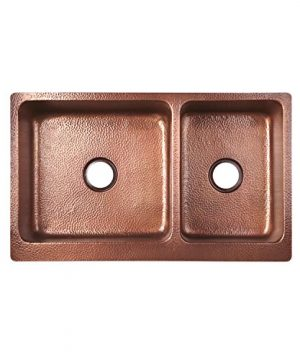 Signature Hardware 397528 Tegan 36 7030 Offset Double Basin Copper Farmhouse Sink With Small Bowl Right 0 2 300x360