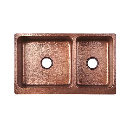 Signature Hardware 397528 Tegan 36 7030 Offset Double Basin Copper Farmhouse Sink With Small Bowl Right 0 2