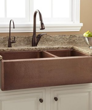 Signature Hardware 397528 Tegan 36 7030 Offset Double Basin Copper Farmhouse Sink With Small Bowl Right 0 300x360