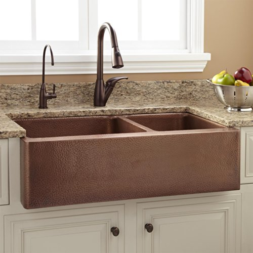 Signature Hardware 397528 Tegan 36 7030 Offset Double Basin Copper Farmhouse Sink With Small Bowl Right 0