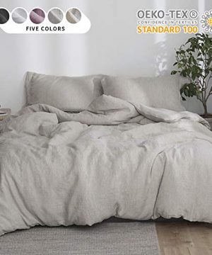 SimpleOpulence 100 Linen Stone Washed 3pcs Basic Style Solid Duvet Cover Set King Linen 0 300x360