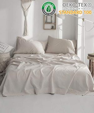 SimpleOpulence Belgian Linen Sheet Set 4PCS Stone Washed Solid ColorFullLinen 0 300x360