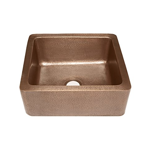Sinkology K1A 1209HA AMZ Monet Handmade 25 CareIQ Kit Farmhouse Apron Front Kitchen Sink Single Bowl Antique Copper 0 1