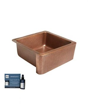Sinkology K1A 1209HA AMZ Monet Handmade 25 CareIQ Kit Farmhouse Apron Front Kitchen Sink Single Bowl Antique Copper 0 300x360