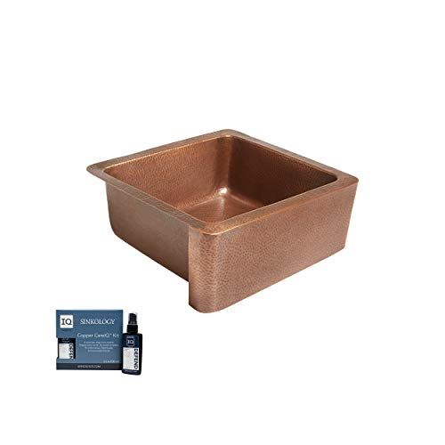 Sinkology K1A 1209HA AMZ Monet Handmade 25 CareIQ Kit Farmhouse Apron Front Kitchen Sink Single Bowl Antique Copper 0