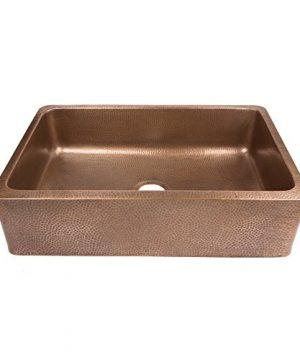 Sinkology SEK307 33 AMZ B Lange Farmhouse 32 In Single Bowl Strainer Kitchen Sink With Drain Antique Copper 0 1 300x360
