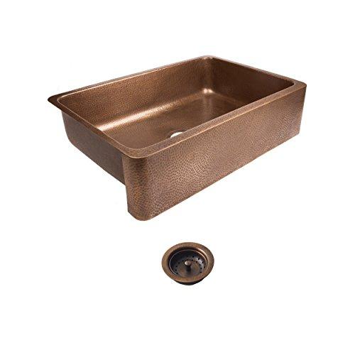 Sinkology SEK307 33 AMZ B Lange Farmhouse 32 In Single Bowl Strainer Kitchen Sink With Drain Antique Copper 0