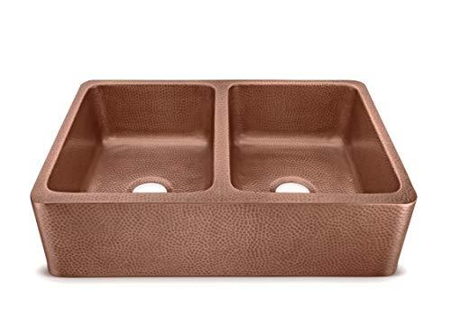 Sinkology SEK308 33AC AMZ IQ Copley Farmhouse Apron Front Handmade 32 Inch Double Bowl Antique CareIQ Kit Copper Kitchen Sink 0 1