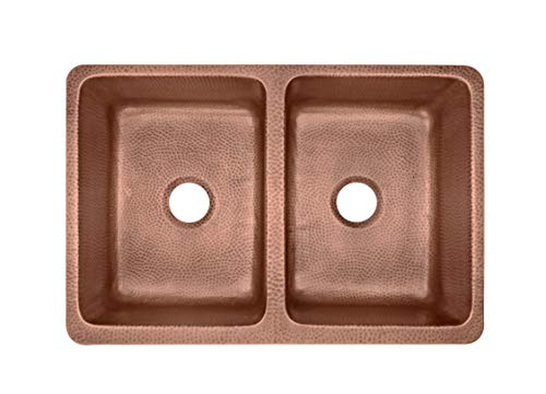 Sinkology SEK308 33AC AMZ IQ Copley Farmhouse Apron Front Handmade 32 Inch Double Bowl Antique CareIQ Kit Copper Kitchen Sink 0 2