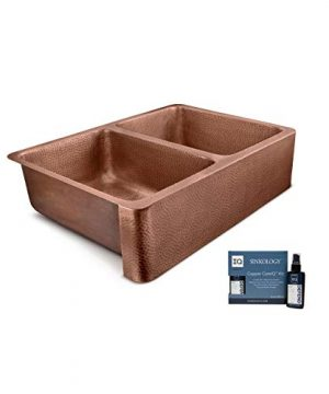 Sinkology SEK308 33AC AMZ IQ Copley Farmhouse Apron Front Handmade 32 Inch Double Bowl Antique CareIQ Kit Copper Kitchen Sink 0 300x360