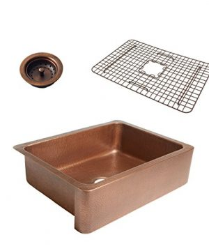Sinkology SK302 30AC WG B Courbet Copper Kitchen Sink With Grid And Strainer Drain 0 300x360