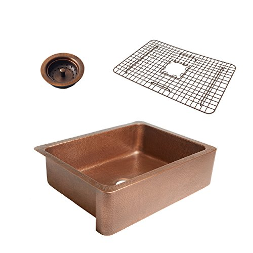 Sinkology SK302 30AC WG B Courbet Copper Kitchen Sink With Grid And Strainer Drain 0