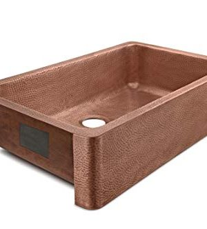 Sinkology SK305 36AC AMZ IQ Porter Farmhouse Apron Front Handmade 36 Inch Single Bowl Antique CareIQ Kit Copper Kitchen Sink 0 0 300x332