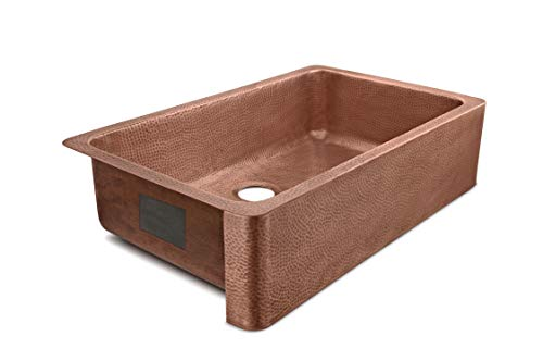 Sinkology SK305 36AC AMZ IQ Porter Farmhouse Apron Front Handmade 36 Inch Single Bowl Antique CareIQ Kit Copper Kitchen Sink 0 0