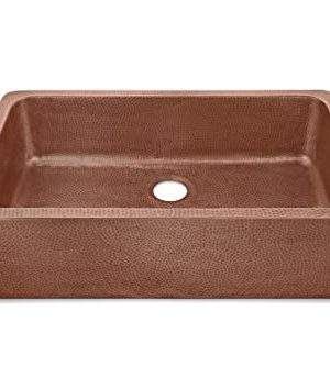 Sinkology SK305 36AC AMZ IQ Porter Farmhouse Apron Front Handmade 36 Inch Single Bowl Antique CareIQ Kit Copper Kitchen Sink 0 1 300x333