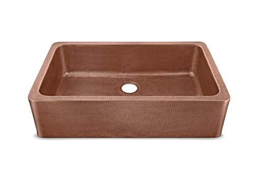 Sinkology SK305 36AC AMZ IQ Porter Farmhouse Apron Front Handmade 36 Inch Single Bowl Antique CareIQ Kit Copper Kitchen Sink 0 1