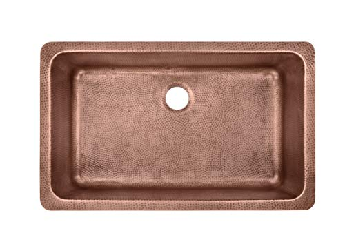 Sinkology SK305 36AC AMZ IQ Porter Farmhouse Apron Front Handmade 36 Inch Single Bowl Antique CareIQ Kit Copper Kitchen Sink 0 2