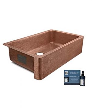Sinkology SK305 36AC AMZ IQ Porter Farmhouse Apron Front Handmade 36 Inch Single Bowl Antique CareIQ Kit Copper Kitchen Sink 0 300x360
