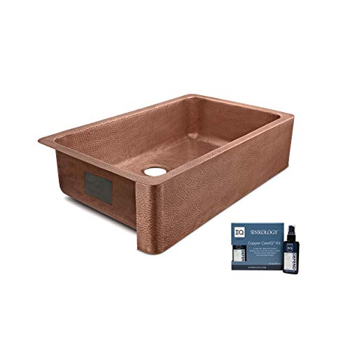 Sinkology SK305 36AC AMZ IQ Porter Farmhouse Apron Front Handmade 36 Inch Single Bowl Antique CareIQ Kit Copper Kitchen Sink 0