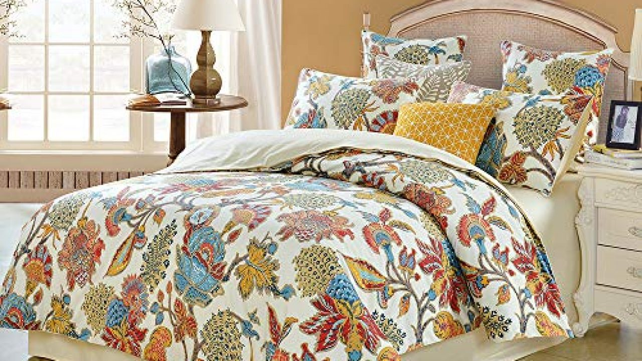 Softta Queen Size Shabby Flower Colorful Red Orange Luxury Bohemian Damask Floral 3pcs 1 Duvet Cover 2 Pillowcases Farmhouse Goals