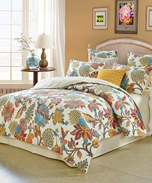 Softta Queen Size Shabby Flower Colorful Red Orange Luxury Bohemian Damask Floral 3Pcs1 Duvet Cover 2 PillowcasesShams Farmhouse Flower 800 Thread Count 100 Egyptian Cotton Duvet Cover Set 0 300x360