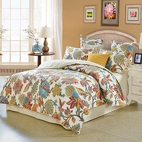 Softta Queen Size Shabby Flower Colorful Red Orange Luxury Bohemian Damask Floral 3Pcs1 Duvet Cover 2 PillowcasesShams Farmhouse Flower 800 Thread Count 100 Egyptian Cotton Duvet Cover Set 0