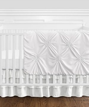Solid Color White Shabby Chic Harper Baby Girl Crib Bedding Set Without Bumper By Sweet Jojo Designs 4 Pieces 0 300x360