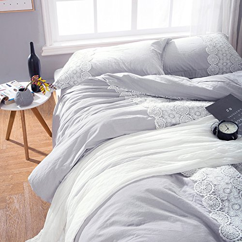 Solid Grey Lace Duvet Cover Set Queen Bohemian Lace Design Cotton Bedding Set Full Lightweight Soft Wedding Comforter Duvet Cover Set Luxury Queen Bedding Collection With 2 Pillowcases 0 2
