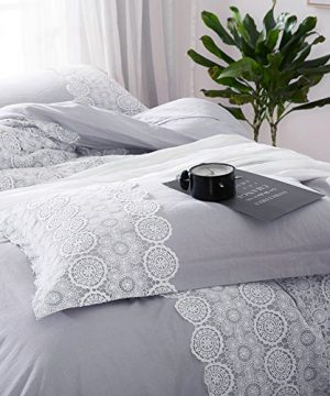 Solid Grey Lace Duvet Cover Set Queen Bohemian Lace Design Cotton Bedding Set Full Lightweight Soft Wedding Comforter Duvet Cover Set Luxury Queen Bedding Collection With 2 Pillowcases 0 3 300x360