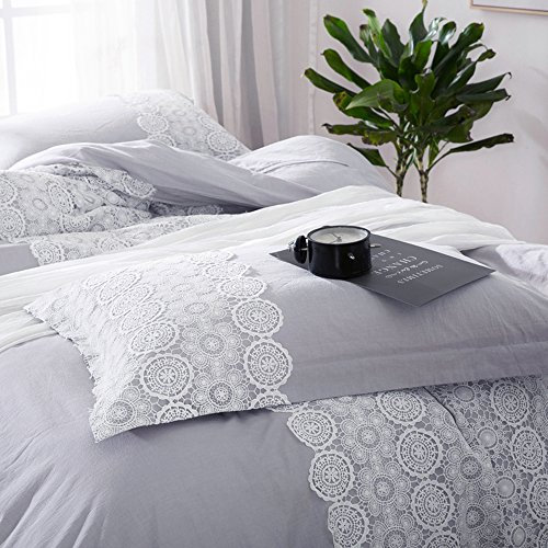 Solid Grey Lace Duvet Cover Set Queen Bohemian Lace Design Cotton Bedding Set Full Lightweight Soft Wedding Comforter Duvet Cover Set Luxury Queen Bedding Collection With 2 Pillowcases 0 3