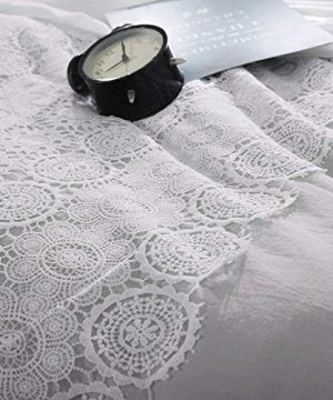 Solid Grey Lace Duvet Cover Set Queen Bohemian Lace Design Cotton Bedding Set Full Lightweight Soft Wedding Comforter Duvet Cover Set Luxury Queen Bedding Collection With 2 Pillowcases 0 4 300x360