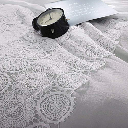Solid Grey Lace Duvet Cover Set Queen Bohemian Lace Design Cotton Bedding Set Full Lightweight Soft Wedding Comforter Duvet Cover Set Luxury Queen Bedding Collection With 2 Pillowcases 0 4