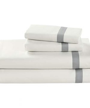 Stone Beam Banded 100 Percale Cotton Bed Sheet Set Easy Care Queen Cloud 0 300x360