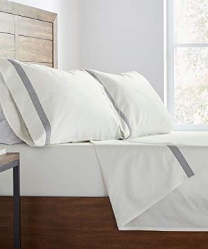 Stone Beam Banded 100 Percale Cotton Bed Sheet Set Easy Care Queen Cloud 0 4 300x360