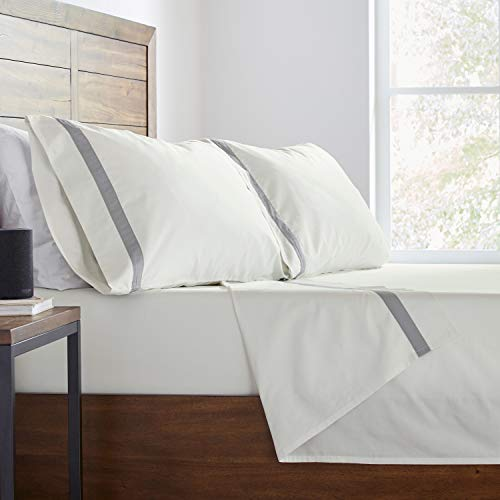 Stone Beam Banded 100 Percale Cotton Bed Sheet Set Easy Care Queen Cloud 0 4