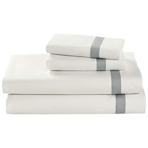 Stone Beam Banded 100 Percale Cotton Bed Sheet Set Easy Care Queen Cloud 0