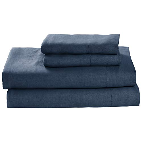 Stone-Beam-Belgian-Flax-Linen-Bed-Sheet-Set-Breathable-and-Durable-King-Aruba-0