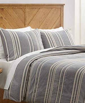 Stone Beam Casual Pleated Stripe 100 Cotton Duvet Cover Set Easy Care King Chambray 0 300x360