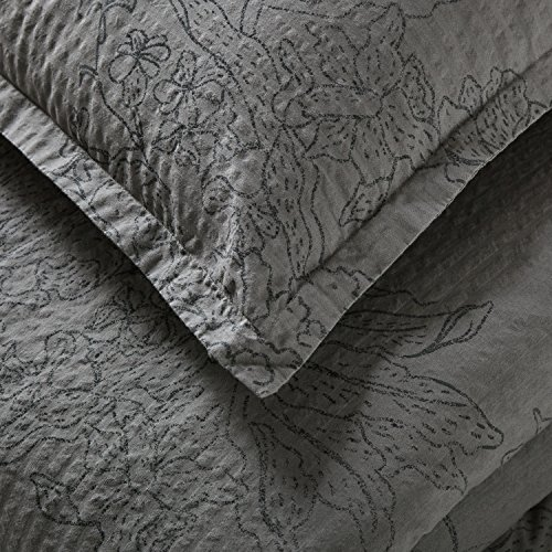 Stone Beam Farmhouse Distressed Seersucker Duvet Cover Set King Grey And Blue 0 0