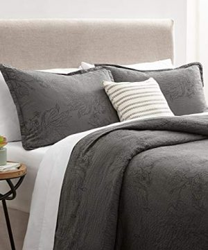 Stone Beam Farmhouse Distressed Seersucker Duvet Cover Set King Grey And Blue 0 300x360