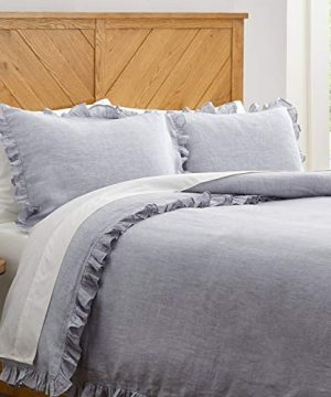 Stone Beam Linen Ruffle Duvet Cover Set King Soft Grey 0 300x360