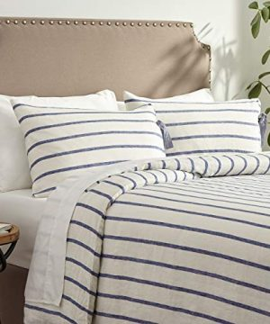 Stone Beam Modern Farmhouse Striped Duvet Cover Set With Ties King Blue And White 0 300x360