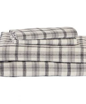 Stone Beam Rustic 100 Cotton Plaid Flannel Bed Sheet Set Easy Care Queen Black And White 0 300x360