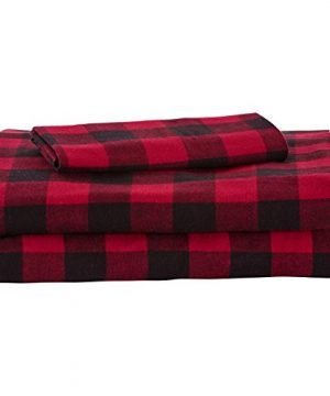 Stone Beam Rustic Buffalo Check Flannel Bed Sheet Set Twin XL Red And Black 0 300x360