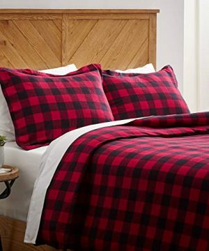Stone Beam Rustic Buffalo Check Flannel Duvet Cover Set Twin Red And Black 0 300x360