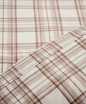 Stone Beam Rustic Plaid Flannel Duvet Cover Set King Ivory And Cream 0 2 300x360
