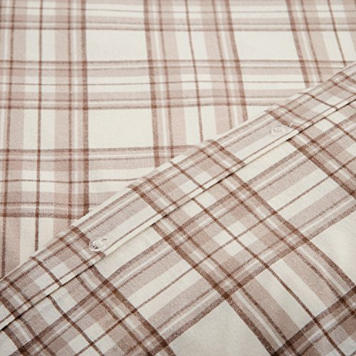 Stone Beam Rustic Plaid Flannel Duvet Cover Set King Ivory And Cream 0 2