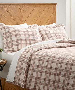 Stone-Beam-Rustic-Plaid-Flannel-Duvet-Cover-Set-King-Ivory-and-Cream-0