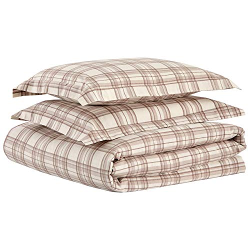 Stone Beam Rustic Plaid Flannel Duvet Cover Set King Ivory And Cream 0 4