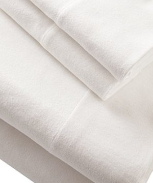 Stone-Beam-Rustic-Solid-100-Cotton-Flannel-Bed-Sheet-Set-California-King-White-0-0